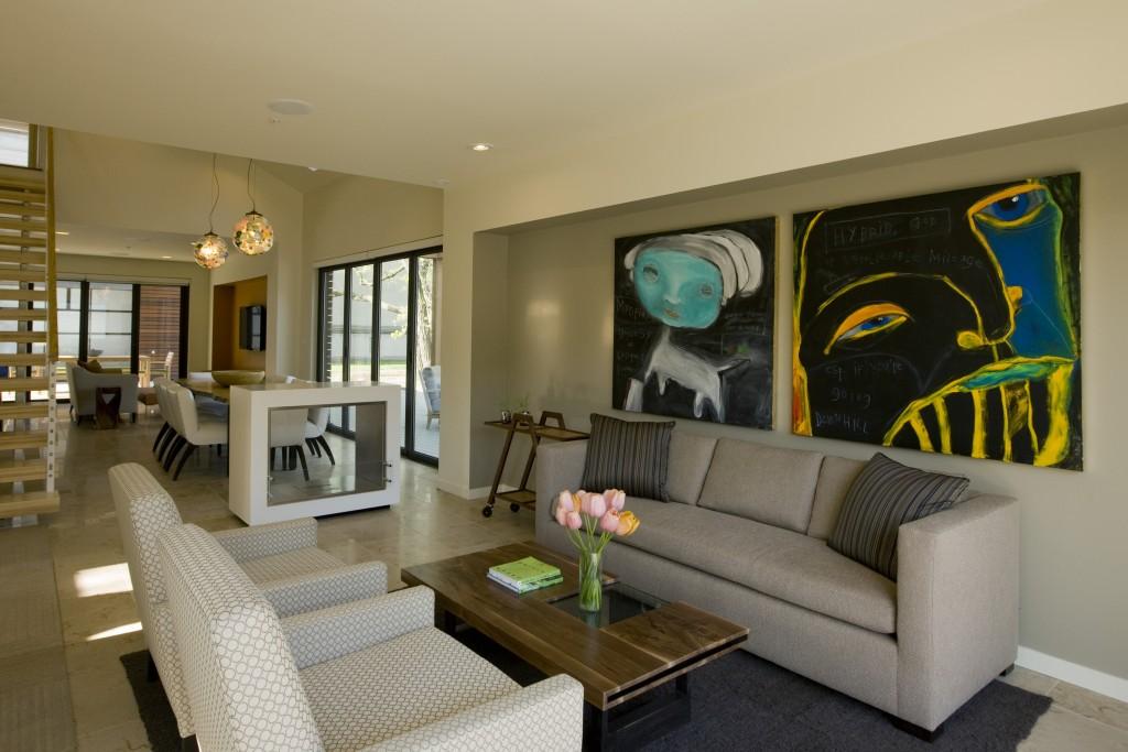 Living Room Design Inspiration With Big Frames And Grey Sectional Sofa