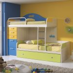 Loft bed idea for toddler with built in ladder tall drawer system and under storage small bedside table white rug bedroom idea unique floor lamp