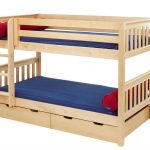 Low Wooden Small Bunk Beds For Toddlers With Storage Place