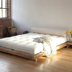 Low profile minimalist wood bed frame design with low profile wooden bedside table