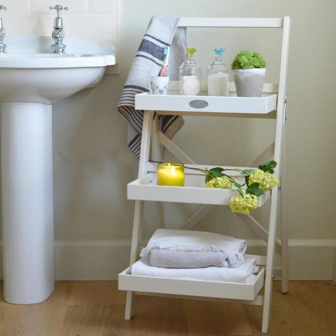 Charming Lower Wood Ladder Rack In White For Bathroom
