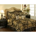 Luxurious gold and black bedding product for king bed frame with beautiful gold headboard