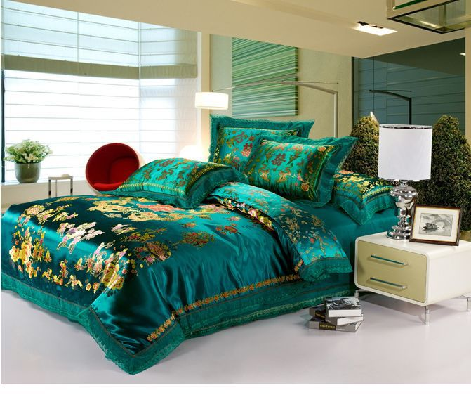 Luxurious Turquoise Bed Comforter Set With Gold Scheme Pattern Modern White  Bedside Table With Drawers And