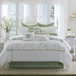 Great Beach Theme Bedroom Ideas In Green Upholstered Bed Also White Silk Blanket Images
