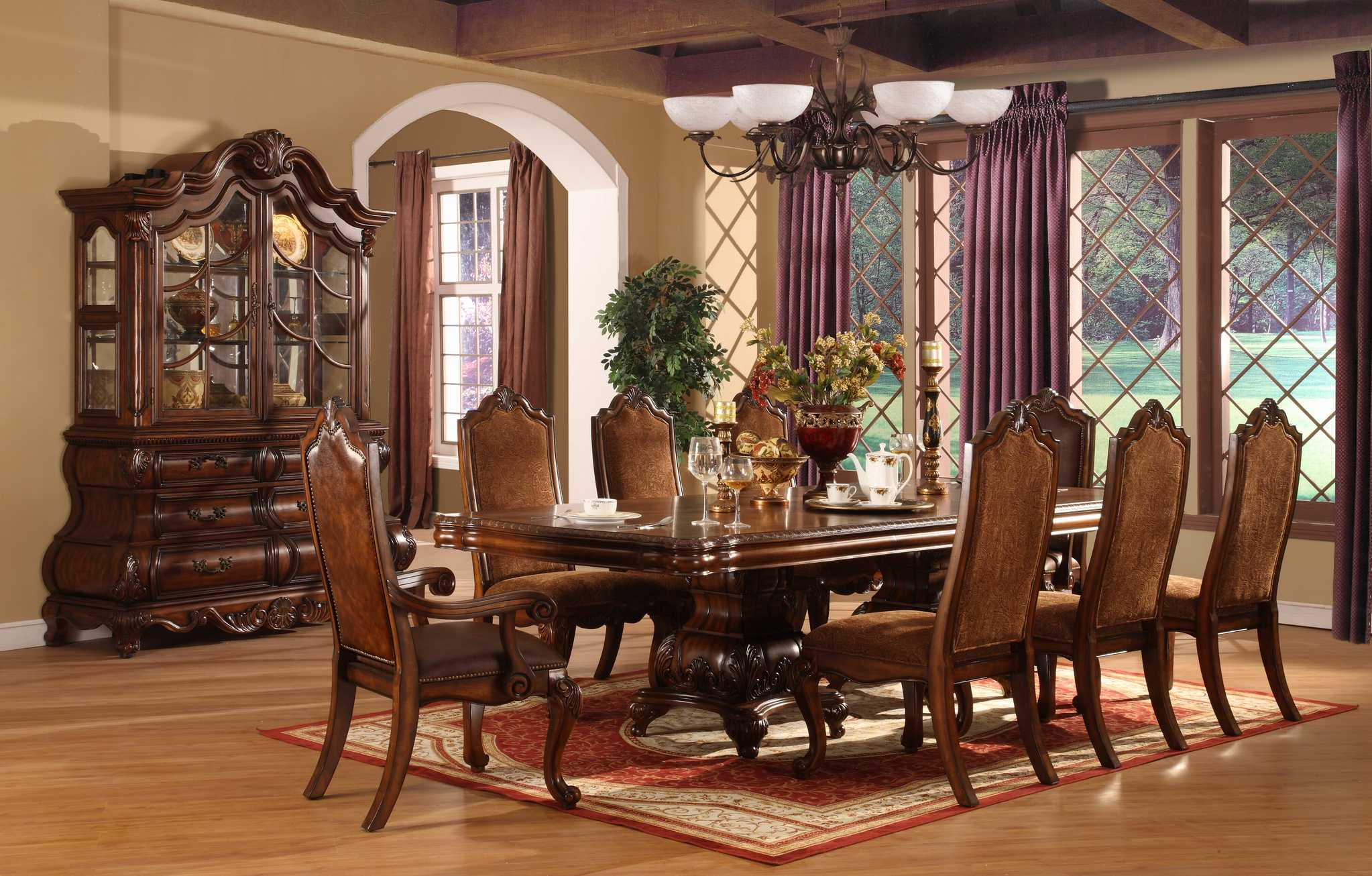 Formal dining room designs - Elegant Formal Dining Room Sets Wooden Bams Ceiling Laminate Floor