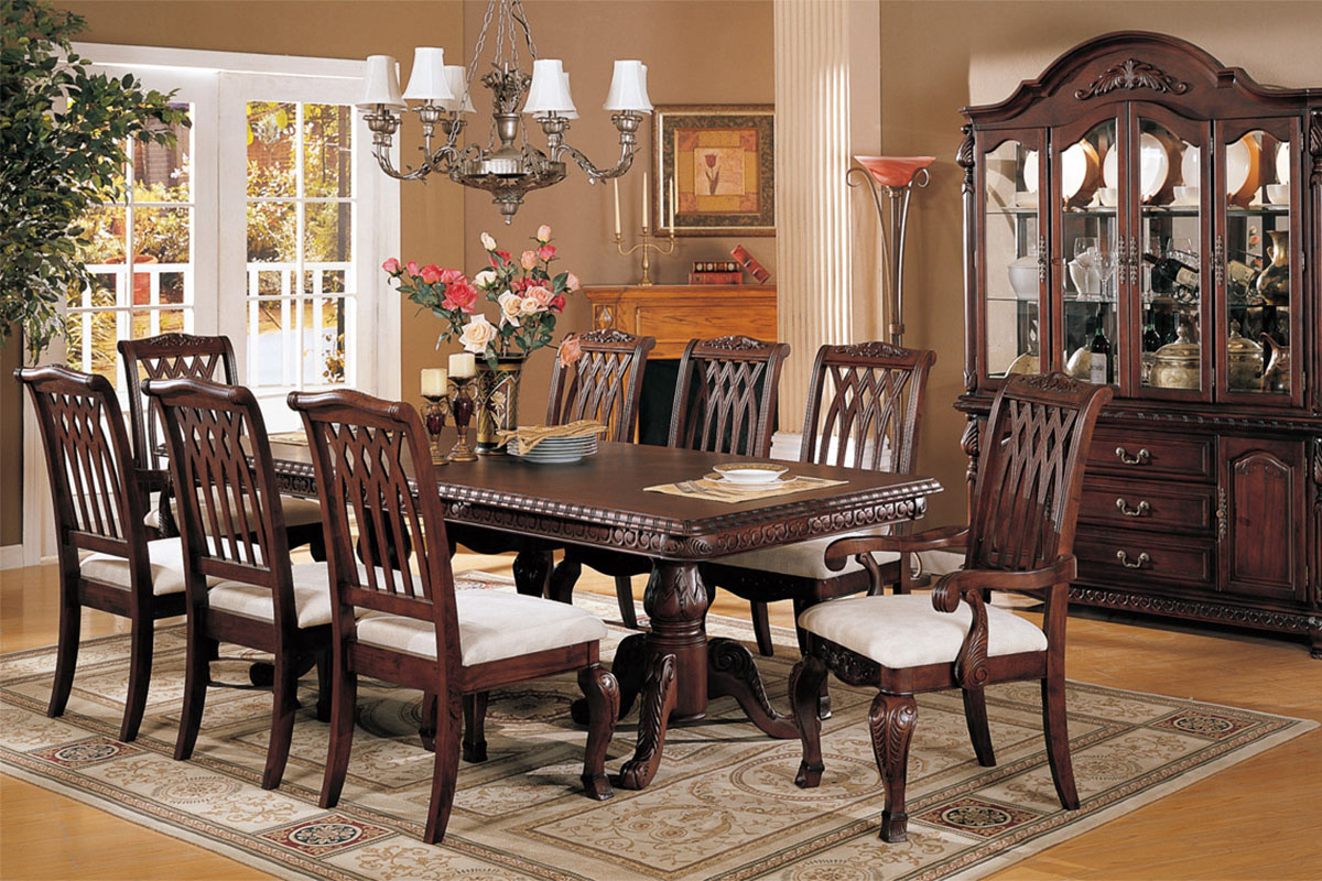 Perfect formal dining room sets for 8 homesfeed for Dining room table with couch