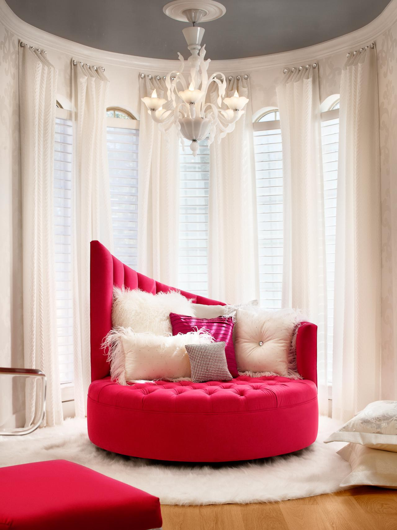 luxury red chairs for bedroom sitting area with fur rug and long white curtains bedroom sitting room furniture