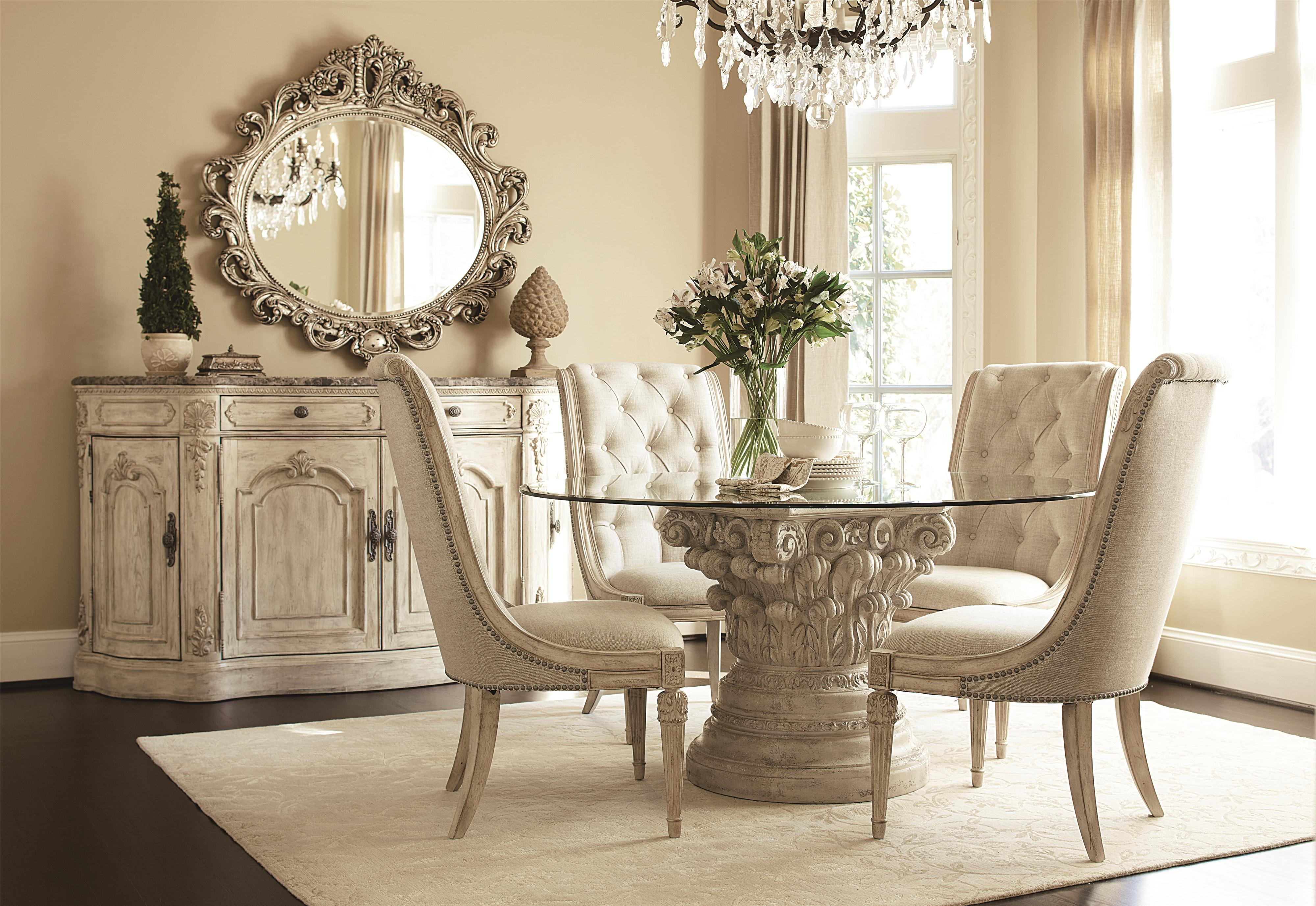 Luxury White Dining Room With Pedestal Table Base For Gl Top Armless Chairs Rustic Cabinet Decorative