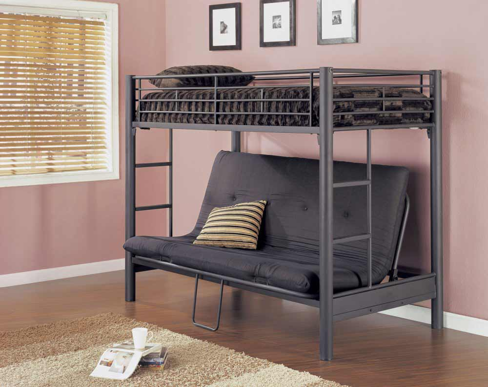 Cool bunk bed for adults - Matter Black And Futton Of Sturdy Bunk Beds For Adults