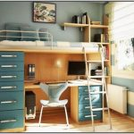 Metal and wood combining loft bed idea with built in desk drawer system and ladder
