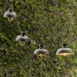 Metal shade string lights in vintage style