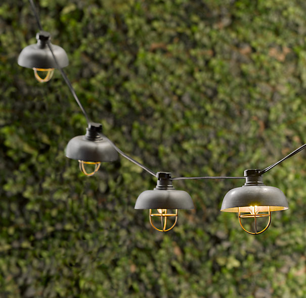 Vintage outdoor string lights ideas homesfeed metal shade string lights in vintage style aloadofball Choice Image