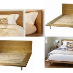 Minimalist bed frame with headboard made of solid wood
