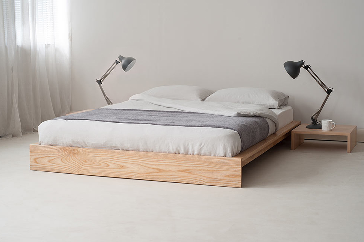 minimalist wood bed frame idea in low profile lower wood bedside table a pair of modern