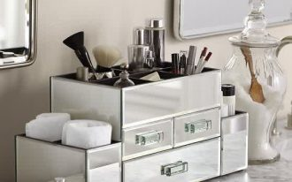 Mirror side storage case for makeup properties