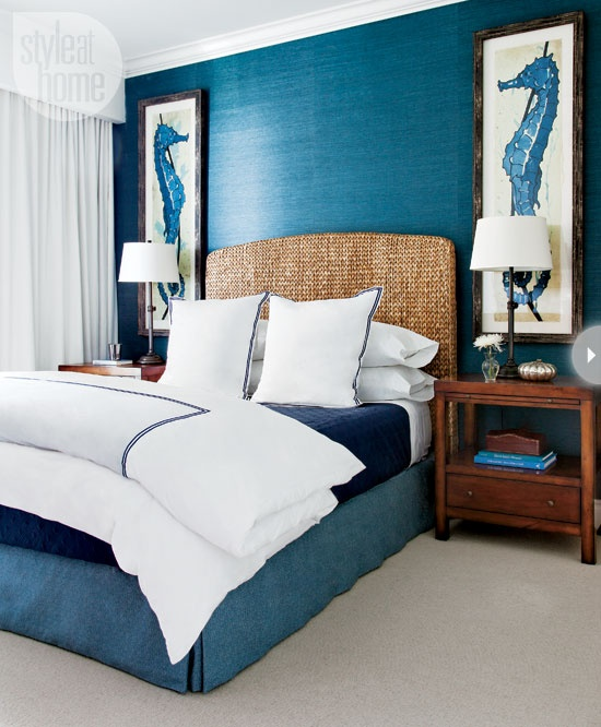 mix rustic modern bedroom decorating idea in beachy theme with a blue bed frame with unique