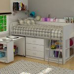 Mix wood and lightweight metal lotf bed frame for girls with built in metal ladder desk white wooden desk bookshelf underneath and drawer system