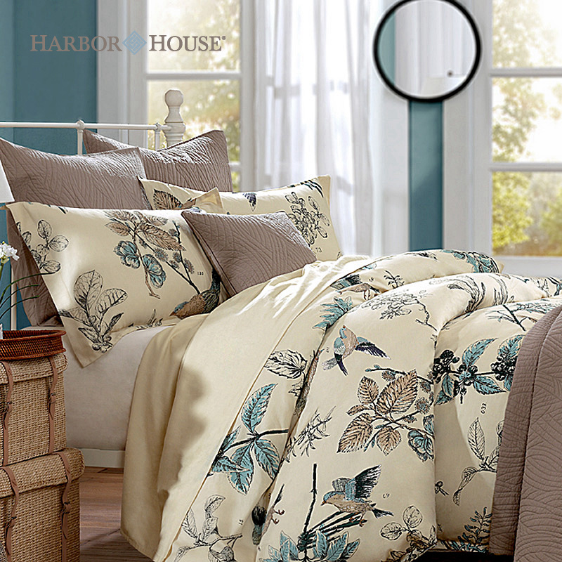 modern american harbour house bedding with plants design and white curtains - Harbor House Bedding
