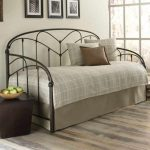 Modern Contemporary Daybed Covers With Wrought Iron Bed Frame And Floor Lamp