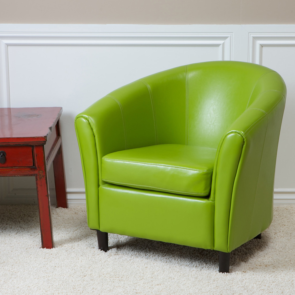 Modern Lime Green Accent Chair With Rustic Side Table And White Fur Rug