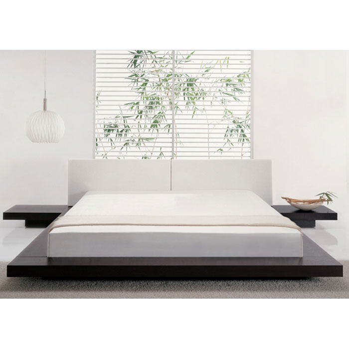 Modern Low Profile Platform Bed Frame With White Mattress