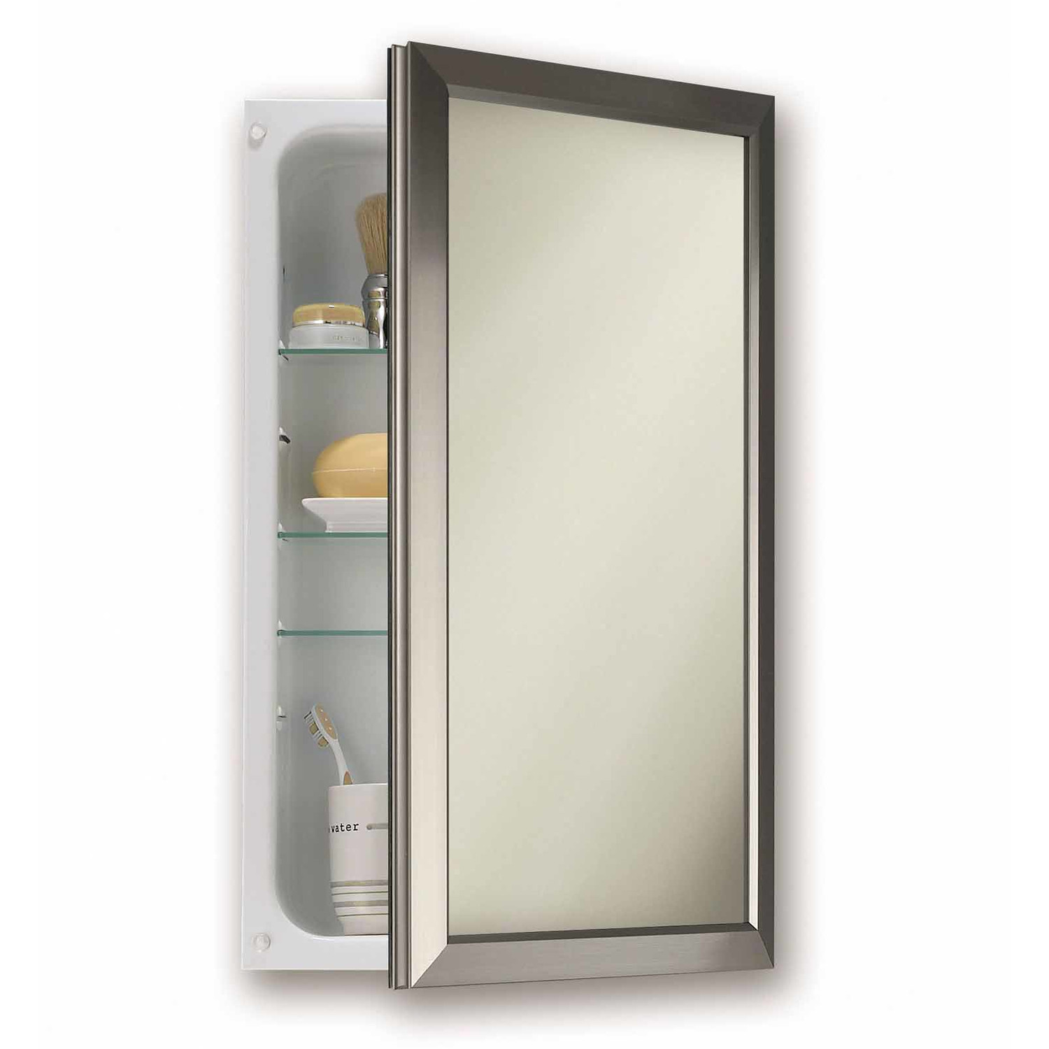 Modern Recessed Medicine Cabinet No Mirror With Racks