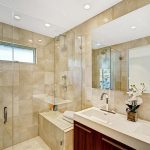 Modern Shower Ideas For Master Bathroom Design With Glass Shower Door And Big Mirror