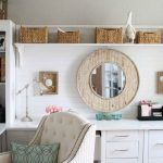 Modern White Home Office Ideas With Wooden Cabinet Drawers And White Chair