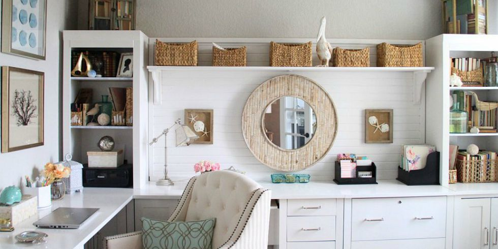 modern white home office ideas with wooden cabinet drawers and white chair - Small Home Office Design Ideas