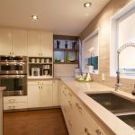 Modern White Kitchen With Quartzite Countertops Pros And Cons And White Window Cover