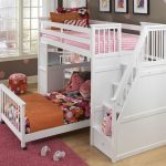 Modern minimalist loft bed frame for girls in white which is equipped with built in ladder additional bed and desk