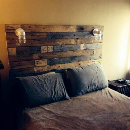 Modern rustic wall mount headboard idea with a pair of wall lighting  fixtures