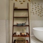 Modern rustic wood ladder rack for bathroom