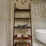Modern rustic wood ladder rack for bathroom