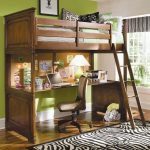 Modern rustic wood loft bed design with desk and ladder animal print bedroom rug