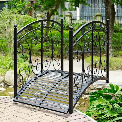Nice Narrow Metal Garden Bridge With Curved And High Handrails