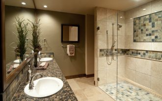 Natural Shower Ideas For Master Bathroom With Glass Door And Plan