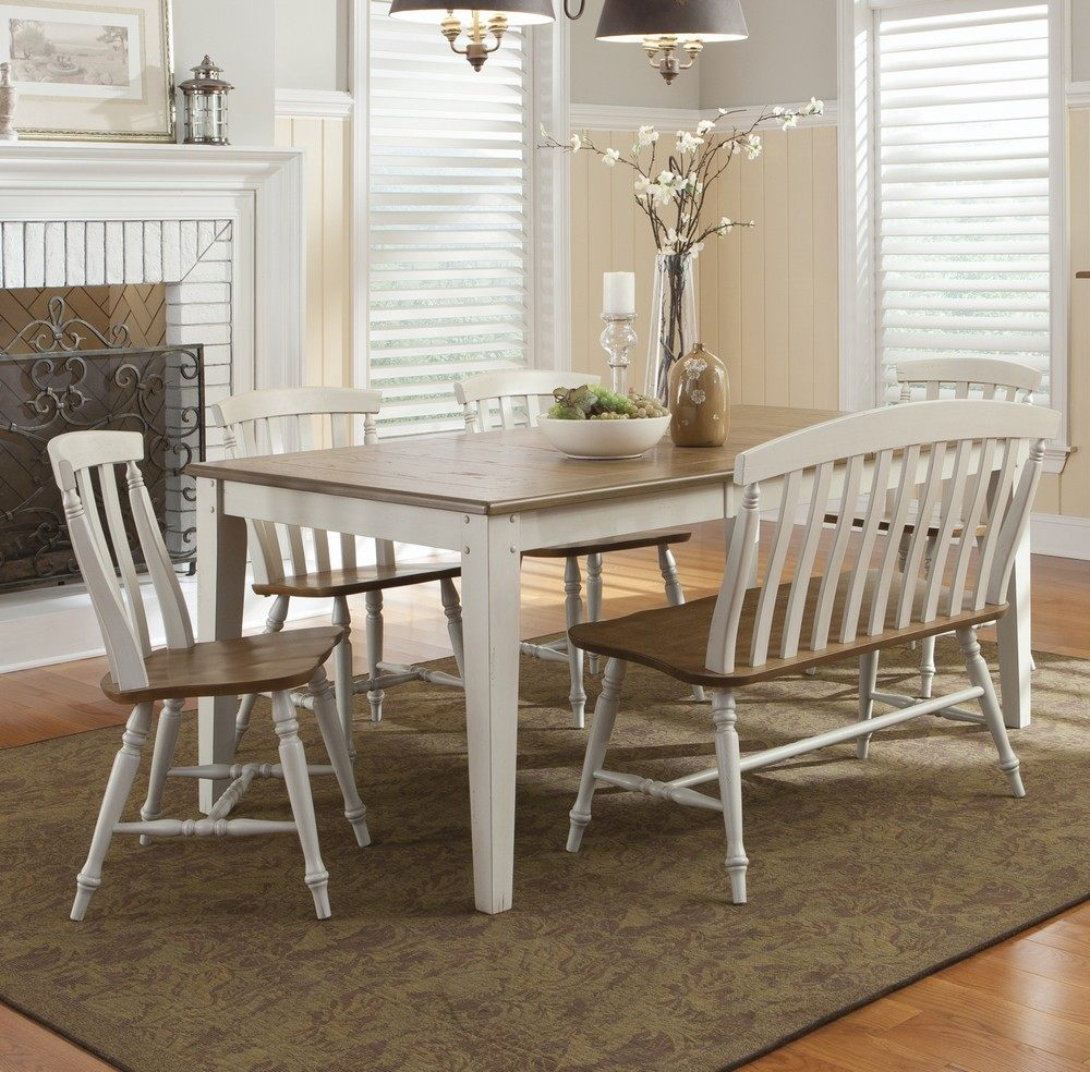 natural white wooden dining room benches with backs and table