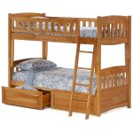 Oak Wooden Sturdy Bunk Beds For Adults With Drawers And Floral Bed