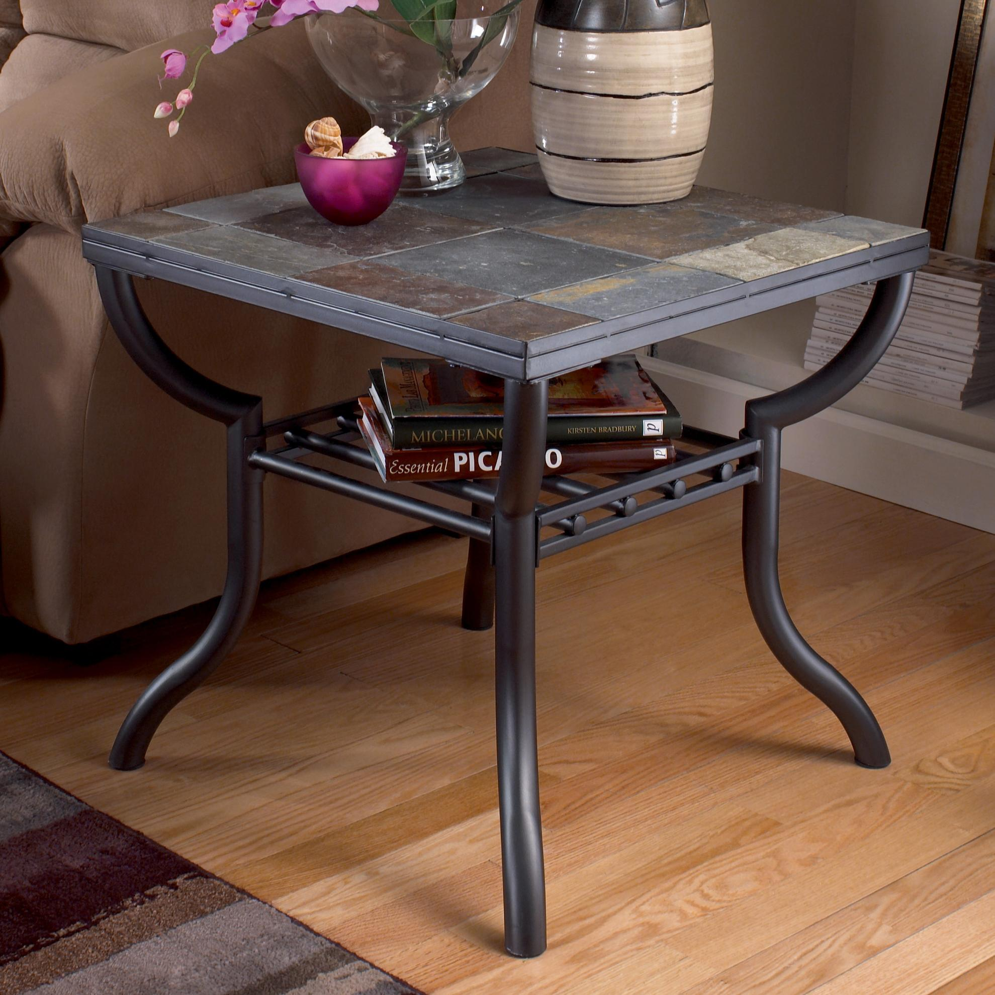 Old Design Of Slate End Tables With Book Racks