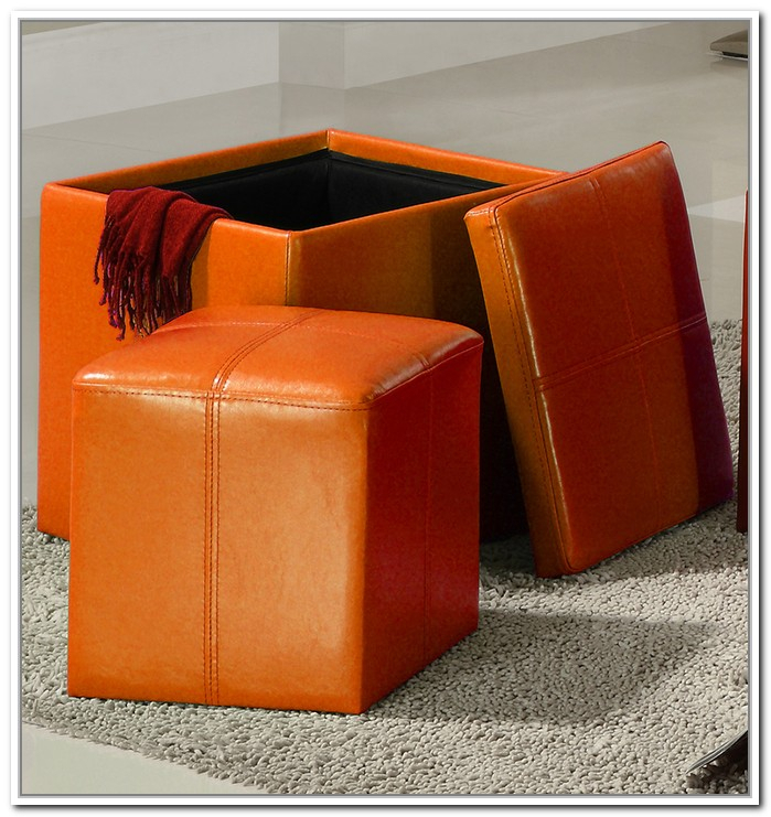Orange Storage Ottoman Stylish And Functional Storage