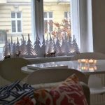 Paper made mini Christmas trees for windows