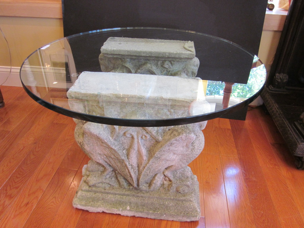 Dining room table bases for glass tops - Pedestal Table Base For Glass Top For Dining Room With White Rock Design