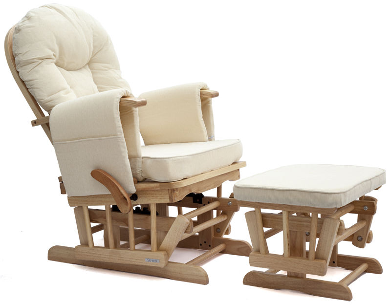 Perfect And Best Glider For Nursing WIth Ottoman And White Color Design