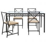 Perfect Dining Room Rectangle Clear Glass High Top Tables Ikea With Wicker Chairs And Black Iron Frame Legs