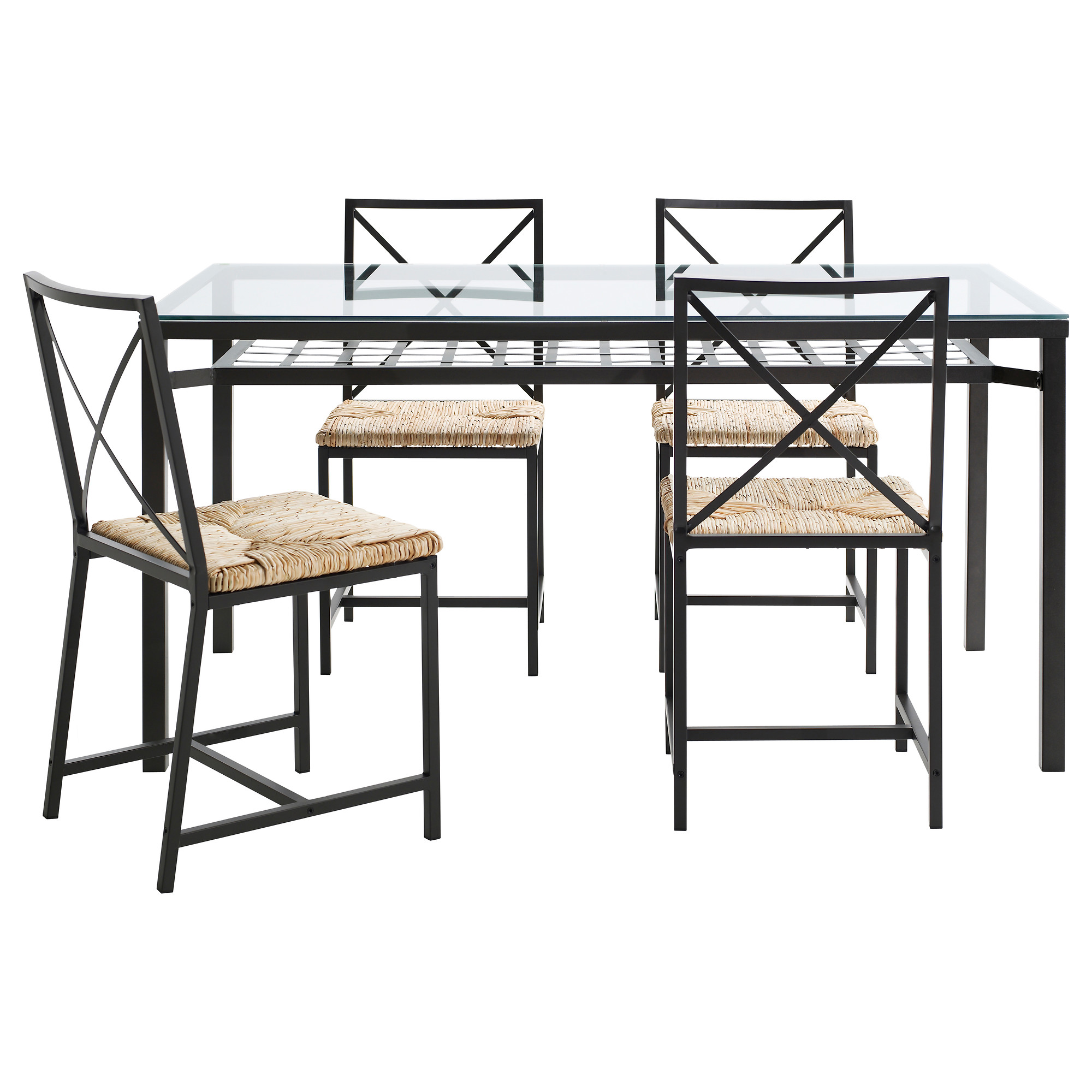 Perfect Dining Room Rectangle Clear Glass High Top Tables Ikea With Wicker Chairs And Black Iron