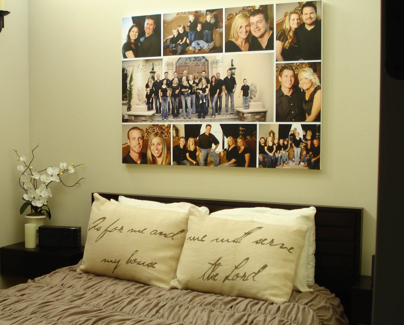 Canvas photo collage wall art. Photo collage idea for a bedroom & Canvas Collage Ideas as Wall Art | HomesFeed