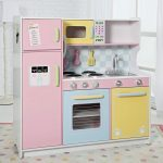 Pink White Yellow Color Design Of Wood Play Kitchen Sets