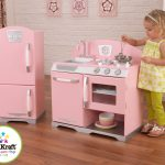Pink Wood Play Kitchen Sets For Girl With Refrigerator