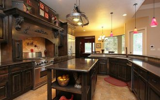 Pot Rack With Lights With Dark Wooden Kitchen Cabinet Set
